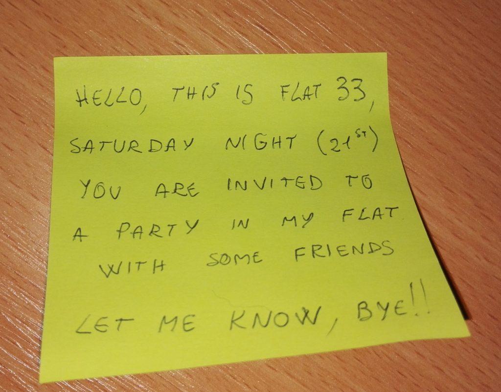 Einladung zur Party im Wohnheim